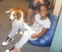 Student reading with our READ Dog Sammie