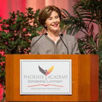 Laura Bush speaking at the luncheon