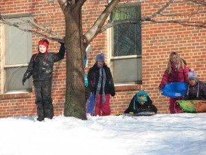 PA students prepare to sled.