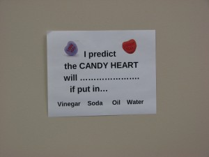 Phoenix Academy student predict what will happen to the candy heart.