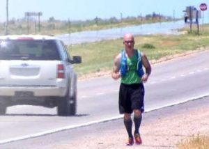 Photo of Joe running across Nebraska