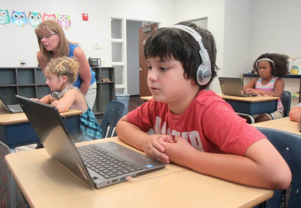 Student using a computer during Summer Kickstart